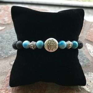 Lava rock oil diffuser lotus flower blue bracelet